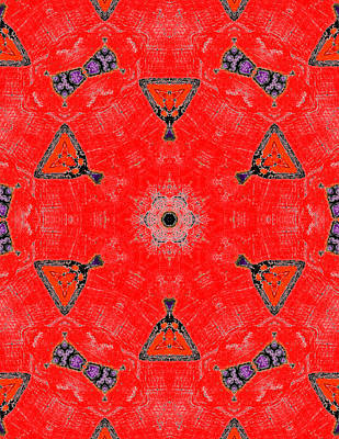 Painting - Red Abstract Pattern Painting 9 by Artist Dot