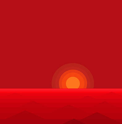 Digital Art - Red Abstract Sunset II by Val Arie