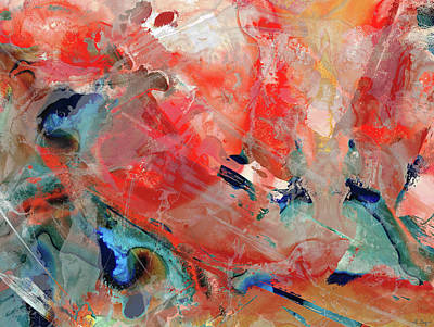 Painting - Red And Blue Abstract - Upper Limits - Sharon Cummings by Sharon Cummings