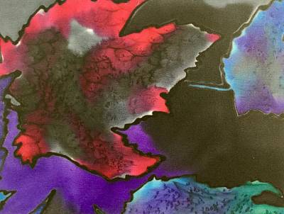 Painting - Red And Blue Leaves by Barbara Pease