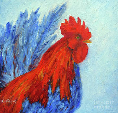 Painting - Red And Blue Rooster by Carolyn Jarvis