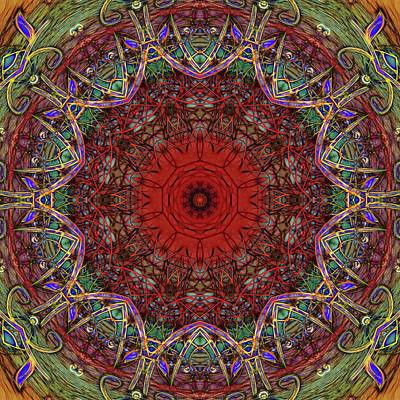 Digital Art - Red And Green Kaleidoscope Pattern by Cindy Boyd