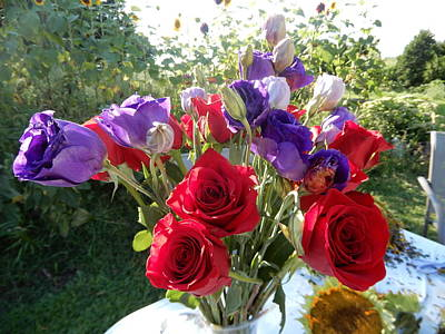 Its A Piece Of Cake - Red And Purple Flowers by Tina M Wenger