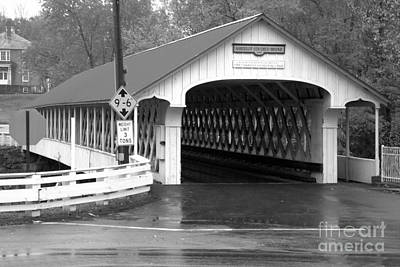 Photograph - Red And White Ashuelot Coverd Bridge Black And White by Adam Jewell