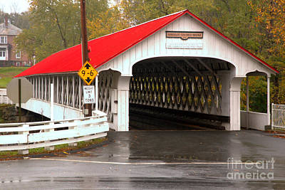 Photograph - Red And White Ashuelot Covered Bridge by Adam Jewell