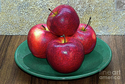 Still Life Royalty-Free and Rights-Managed Images - Red apples on green plate by Tibor Tivadar Kui