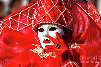 Red Queen Photograph - Red At Carnevale Di Venezia by John Rizzuto