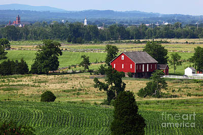 Photograph - Red Barn And Countryside Near Gettysburg by James Brunker