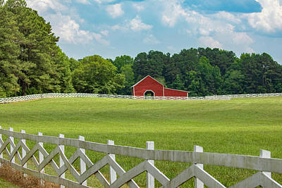 Photograph - Red Barn And White Fence 2019-05 02 by Jim Dollar