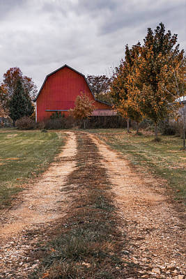Photograph - Red Barn Dirt Road - Rural Farmhouse by Gregory Ballos