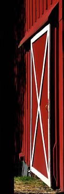 Photograph - Red Barn Door White Trim by Jerry Sodorff