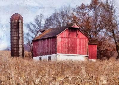 School Tote Bags Royalty Free Images - Red barn in a cornfield painting Royalty-Free Image by Don Valentine