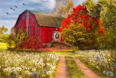 Photograph - Red Barn In Early Autumn Painting by Debra and Dave Vanderlaan