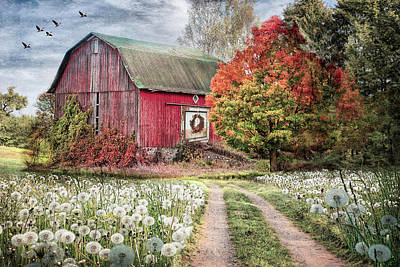 Photograph - Red Barn In Early Autumn Soft Colors by Debra and Dave Vanderlaan