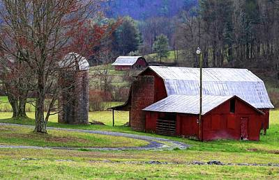 Photograph - Red Barn In Winter Painting by Carol Montoya