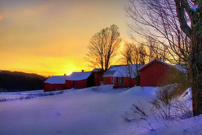 Photograph - Red Barn In Winter - Vermont by Joann Vitali
