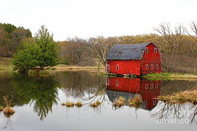 Red Barn Reflections Art Print