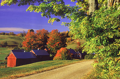 Vermont Photograph - Red Barns Along Countryside, Vermont by Russell Burden
