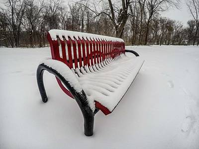 Digital Art - Red Bench G0873413 by Michael Thomas