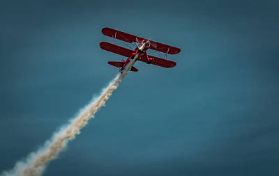 Photograph - Red Bi-Plane by Mike Cox
