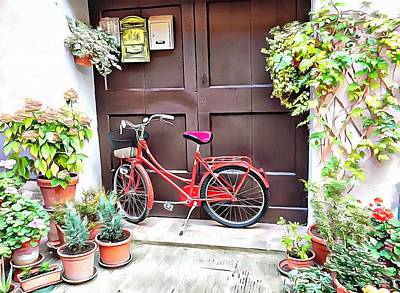 Photograph - Red Bicycle Pienza by Dorothy Berry-Lound