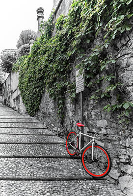 Photograph - Red Bike On Contrada Del Prato  by Carolyn Derstine