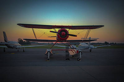 Photograph - Red Biplane At Dawn by Jeff Kurtz