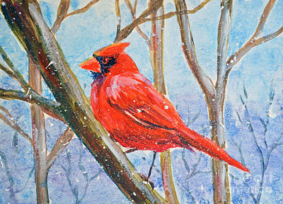 Painting - Red Bird In Winter by Li Newton