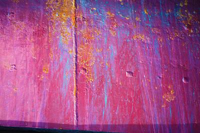 Photograph - Red Blue Yellow Rusty Background by Yulia Kazansky
