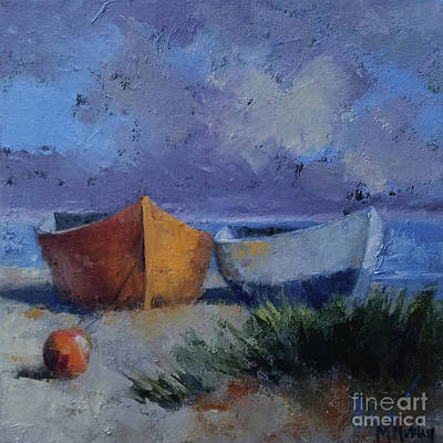 Painting - Red Boat Blue Boat by Mary Hubley