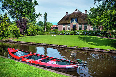 Photograph - Red Boat. Giethoorn. The Netherlands by Jenny Rainbow