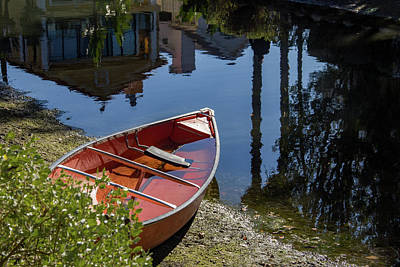 Wall Art - Photograph - Red Boat On Canal Shore by Roslyn Wilkins