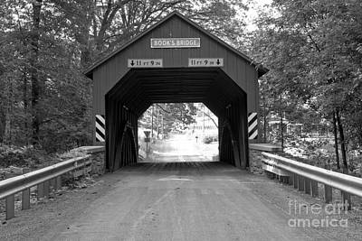 Photograph - Red Books Covered Bridge Black And White by Adam Jewell