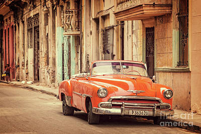 Red Car In Old Havana Art Print