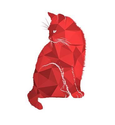 Whipping Wall Art - Digital Art - Red Cat by ArtMarketJapan
