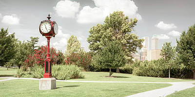 Photograph - Red Centennial Park Clock And Tulsa Skyline Panorama - Aged by Gregory Ballos