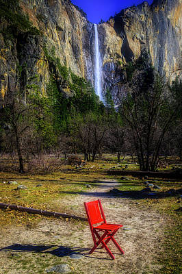 Photograph - Red Chair At Bridalveil Fall by Garry Gay