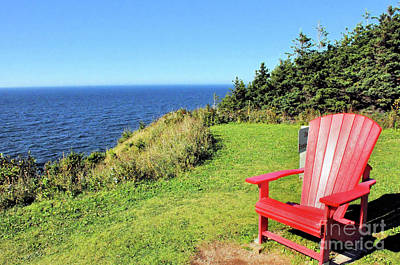 Photograph - red Chair by the Ocean by Elaine Manley