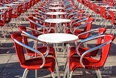 Photograph - Red Chairs At Piazza San Marco Venice by John Rizzuto
