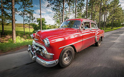 Red Classic Cuban Car Art Print