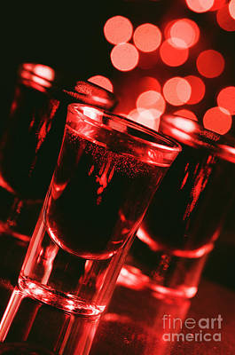 Night Shot Wall Art - Photograph - Red Cocktail In Shot Glasses by Jelena Jovanovic