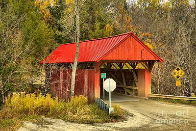 Photograph - Red Covered Bridge Fall Landscape by Adam Jewell