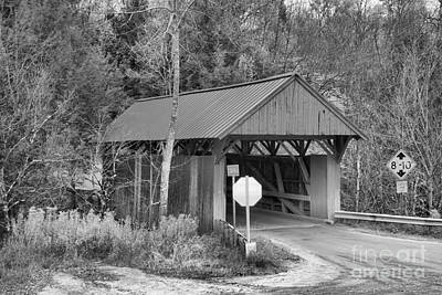 Photograph - Red Covered Bridge Fall Landscape Black And White by Adam Jewell