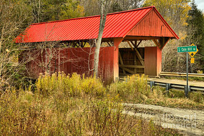 Photograph - Red Covered Bridge In The Brush by Adam Jewell
