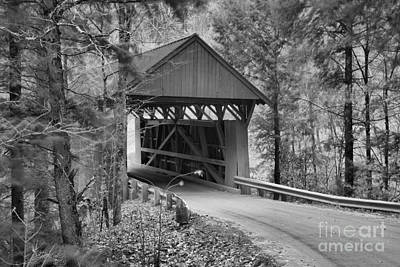 Photograph - Red Covered Bridge In The Forest Black And White by Adam Jewell