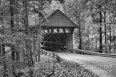 Photograph - Red Covered Bridge In The Woods Black And White by Adam Jewell