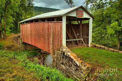Photograph - Red Covered Bridge Over Bargers Run by Adam Jewell