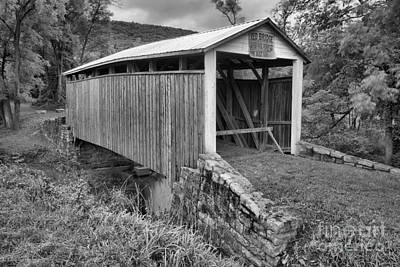 Photograph - Red Covered Bridge Over Bargers Run Black And White by Adam Jewell
