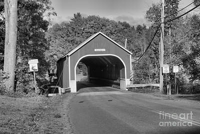 Photograph - Red Cresson Covered Bridge Black And White by Adam Jewell
