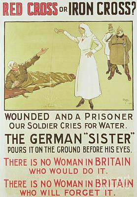 Drawing - Red Cross Or Iron Cross, World War I Propaganda Poster by David Wilson